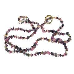 Multi Color Tourmaline Chip Necklace