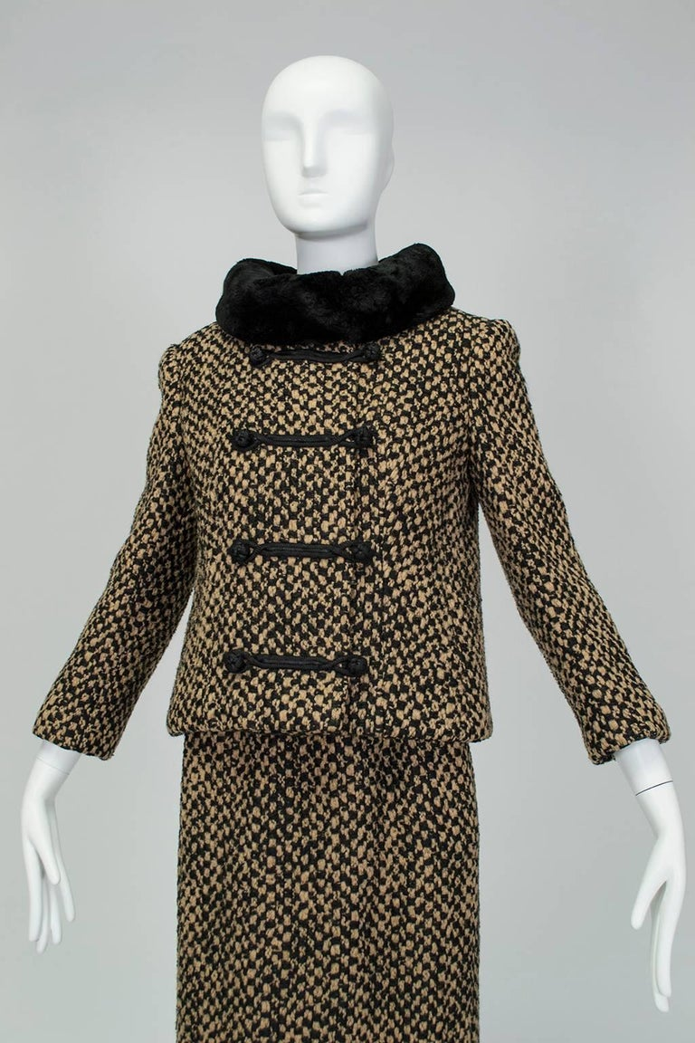 Black Sheared Mink Trim A-Line Suit with Stand-Away Collar, 1960s For Sale