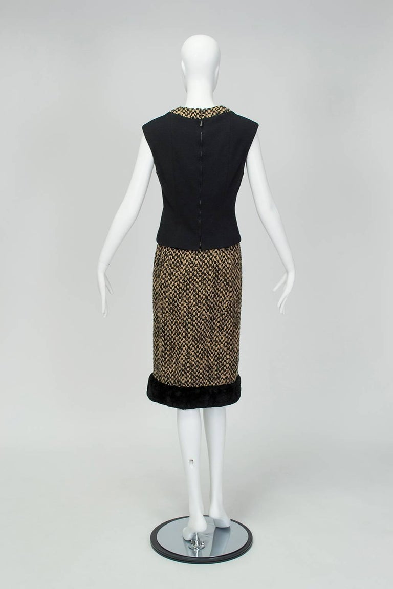 Sheared Mink Trim A-Line Suit with Stand-Away Collar, 1960s For Sale 3