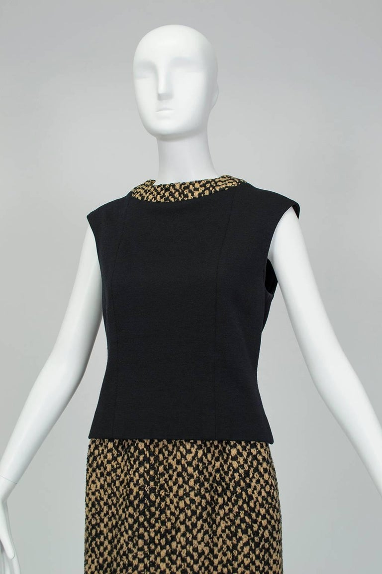 Sheared Mink Trim A-Line Suit with Stand-Away Collar, 1960s For Sale 4