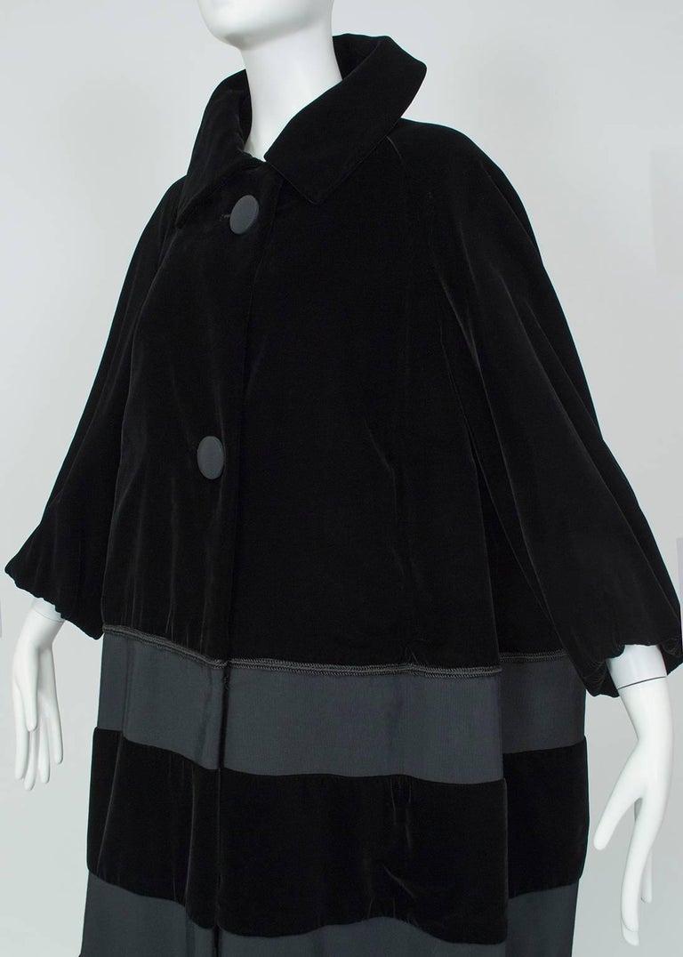 Women's Black Velvet and Faille Stripe Raglan Oversized Opera Coat, 1960s For Sale