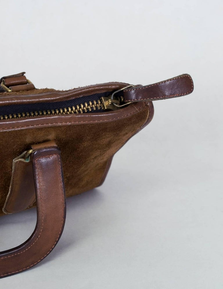 Bonnie Cashin Coach Suede Soft-Sided Mini Briefcase, 1970s In Good Condition For Sale In Tucson, AZ