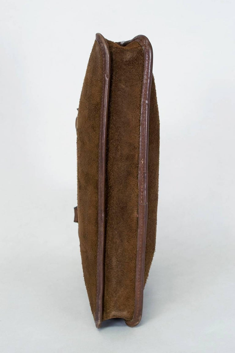 Bonnie Cashin Coach Suede Soft-Sided Mini Briefcase, 1970s For Sale 3