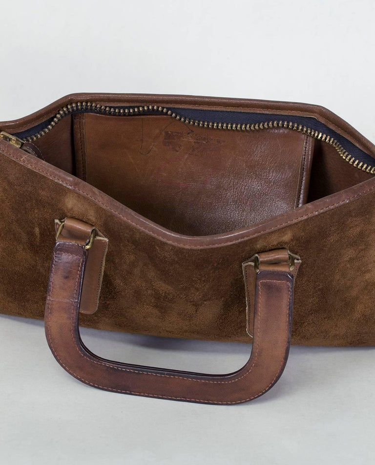 Bonnie Cashin Coach Suede Soft-Sided Mini Briefcase, 1970s For Sale 1
