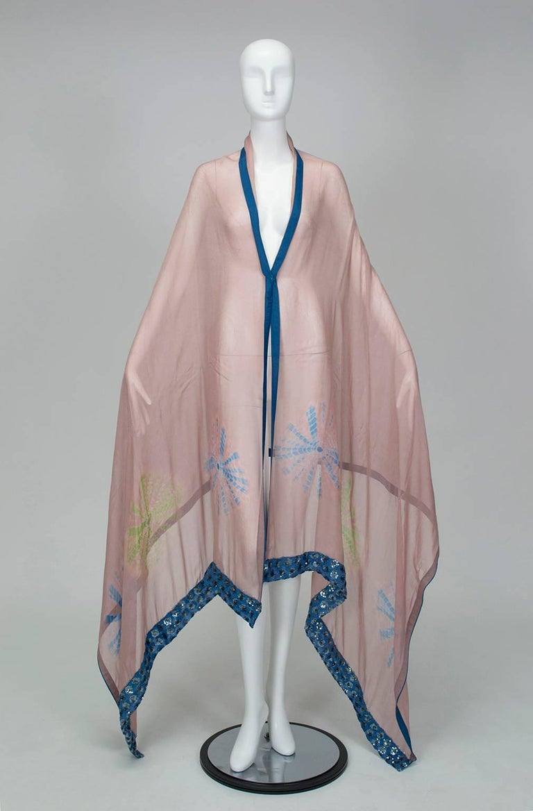 Gold Sequin Tie Dye Silk Sari with Pavé Crystal Hip Brooch and Sash - M-L, 1960s For Sale 5