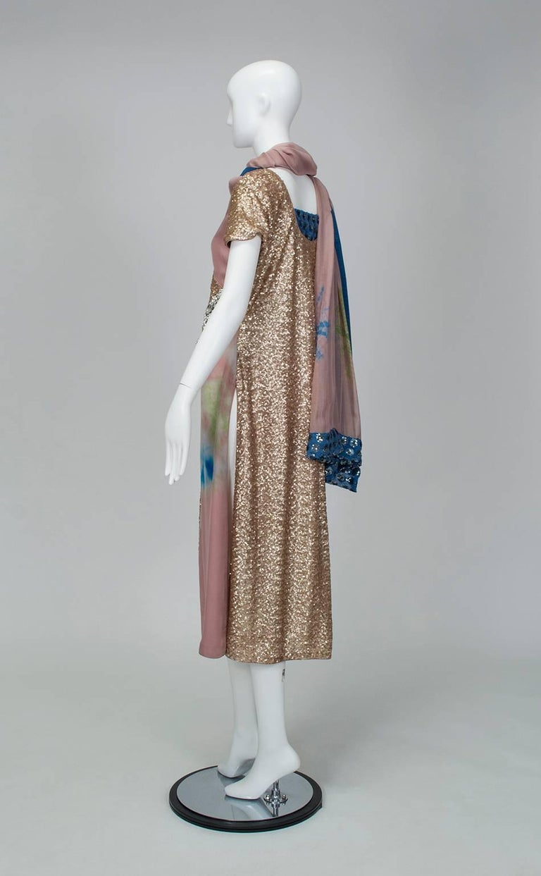 From a collection of bespoke saris, tunics and cholis, this 2-piece set balances soothing colors with an explosive tie dye pattern, which is commonly worn in India during the monsoons. No matter: vast expanses of sequins and the magnificent crystal