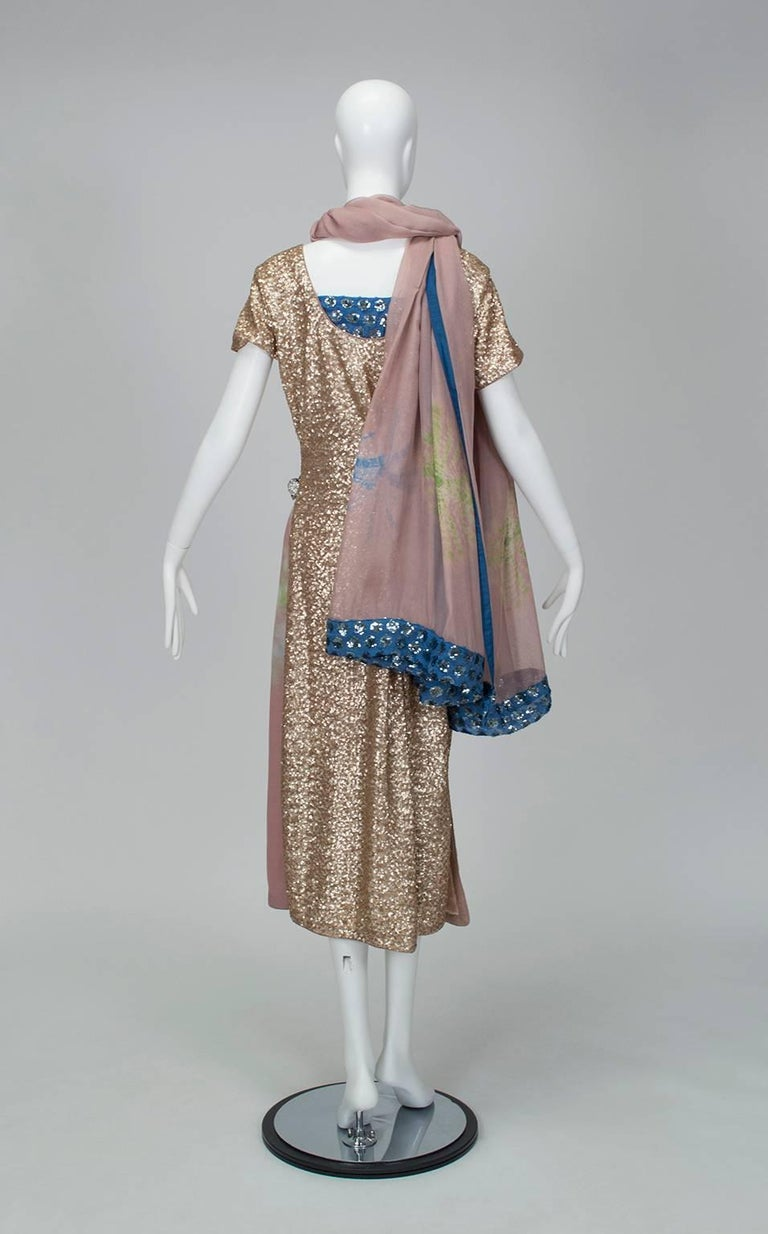Brown Gold Sequin Tie Dye Silk Sari with Pavé Crystal Hip Brooch and Sash - M-L, 1960s For Sale