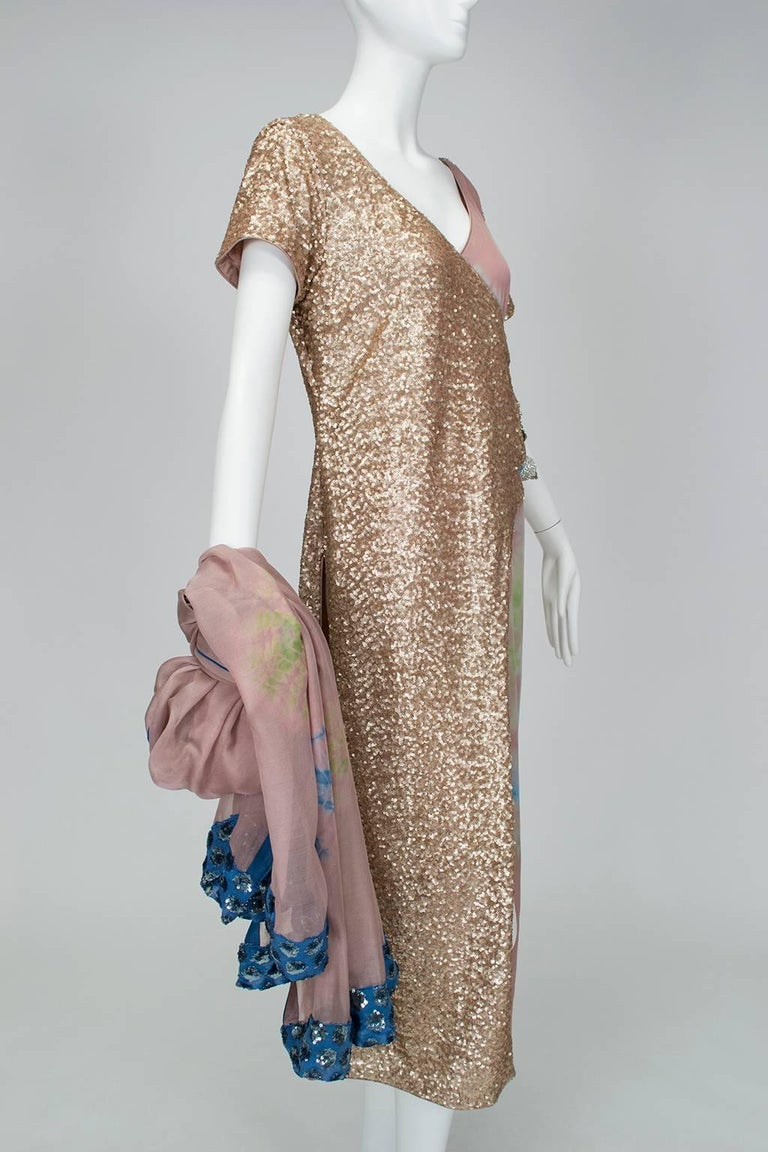 Women's Gold Sequin Tie Dye Silk Sari with Pavé Crystal Hip Brooch and Sash - M-L, 1960s For Sale