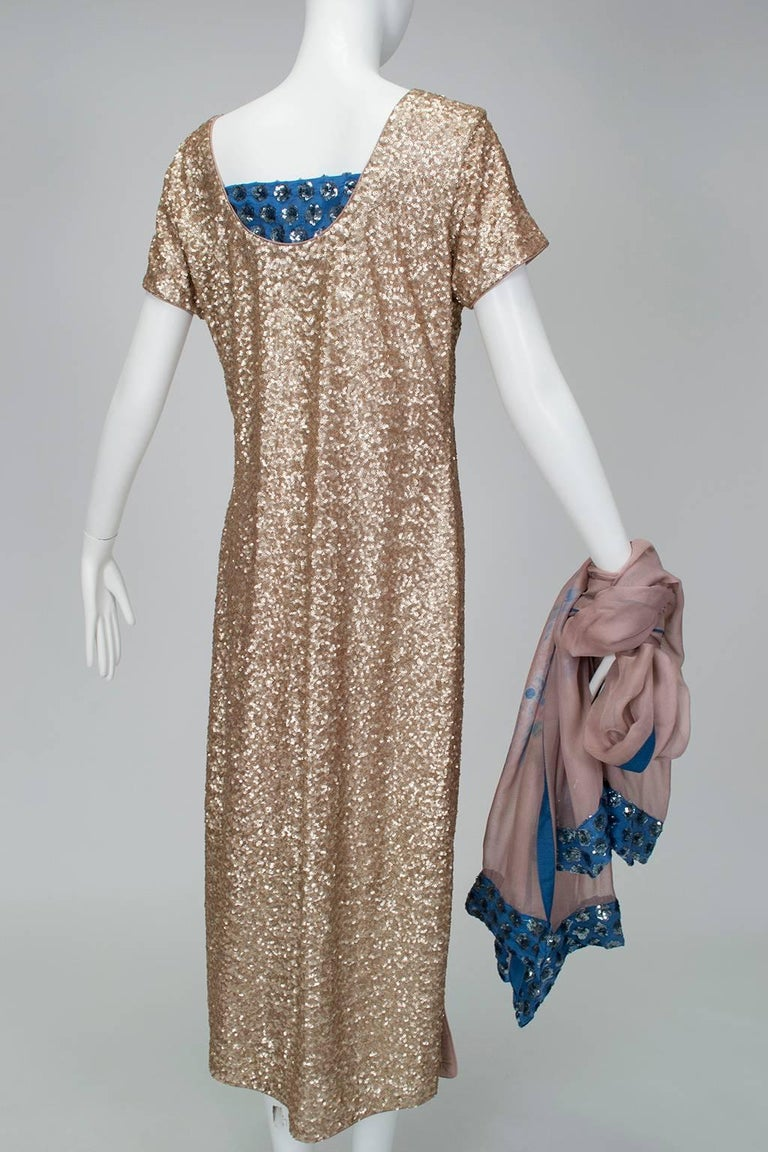 Gold Sequin Tie Dye Silk Sari with Pavé Crystal Hip Brooch and Sash - M-L, 1960s For Sale 1