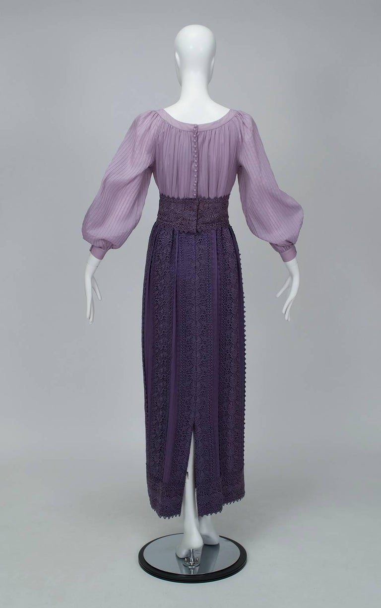 Medieval Purple Bishop Sleeve Crochet Maxi Dress 1970s
