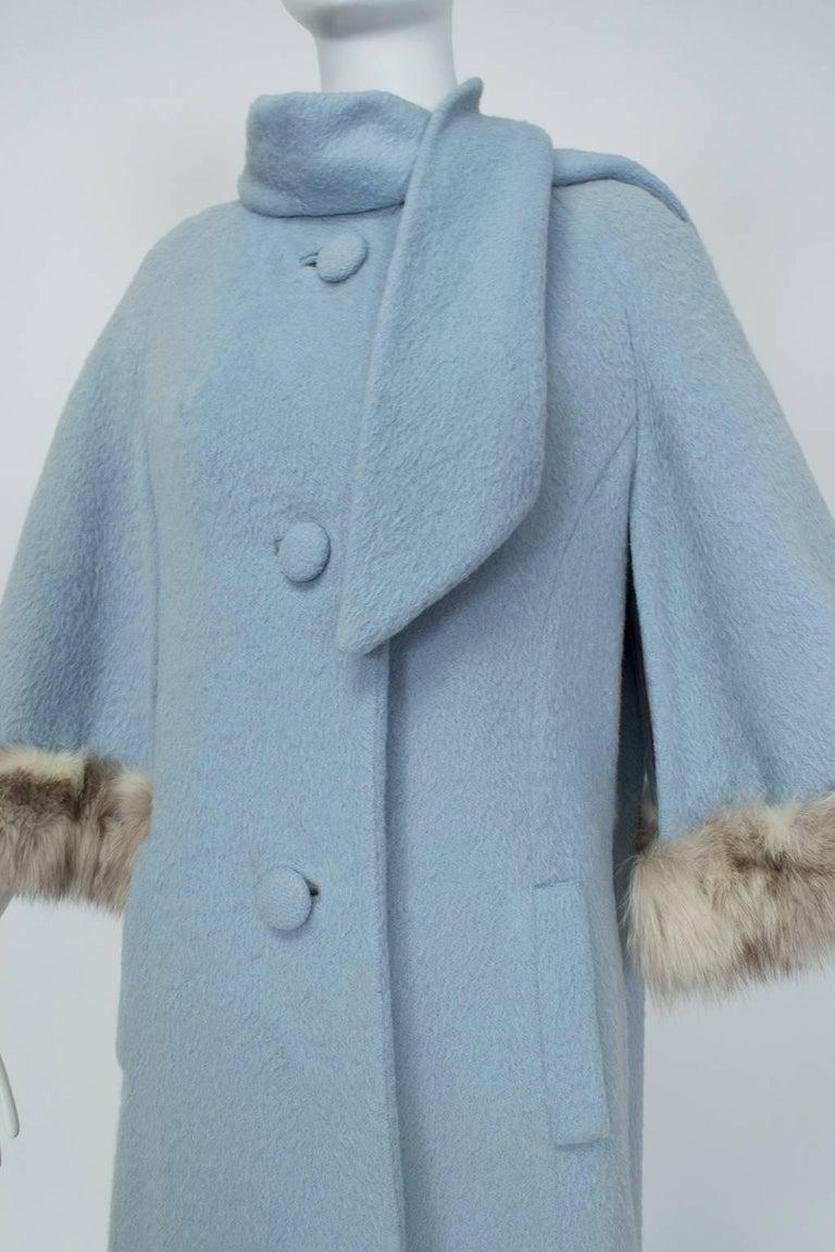 Powdery Lilli Ann Paris Fox Trim Ulster Swing Coat 1950s