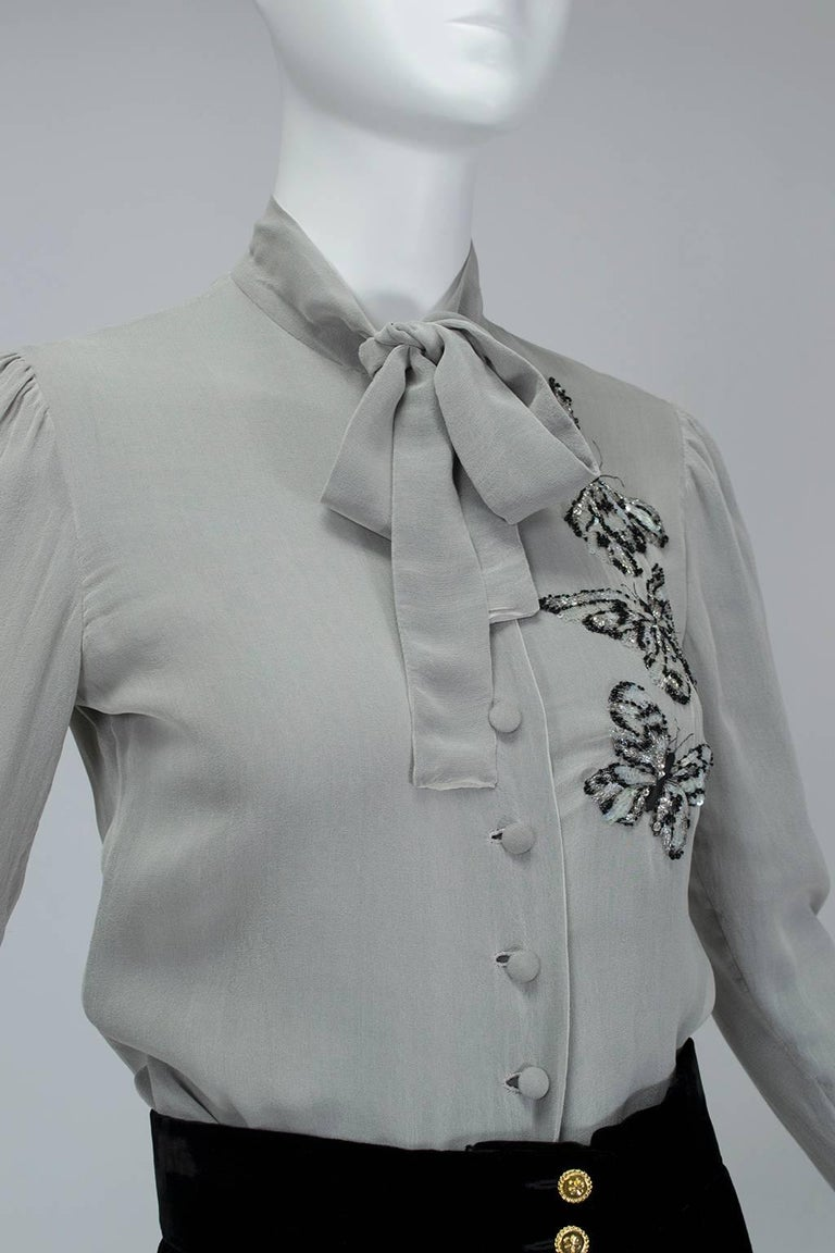Women's Jean-Louis Scherrer Numbered Couture Butterfly Pussy Bow Blouse, 1970s For Sale