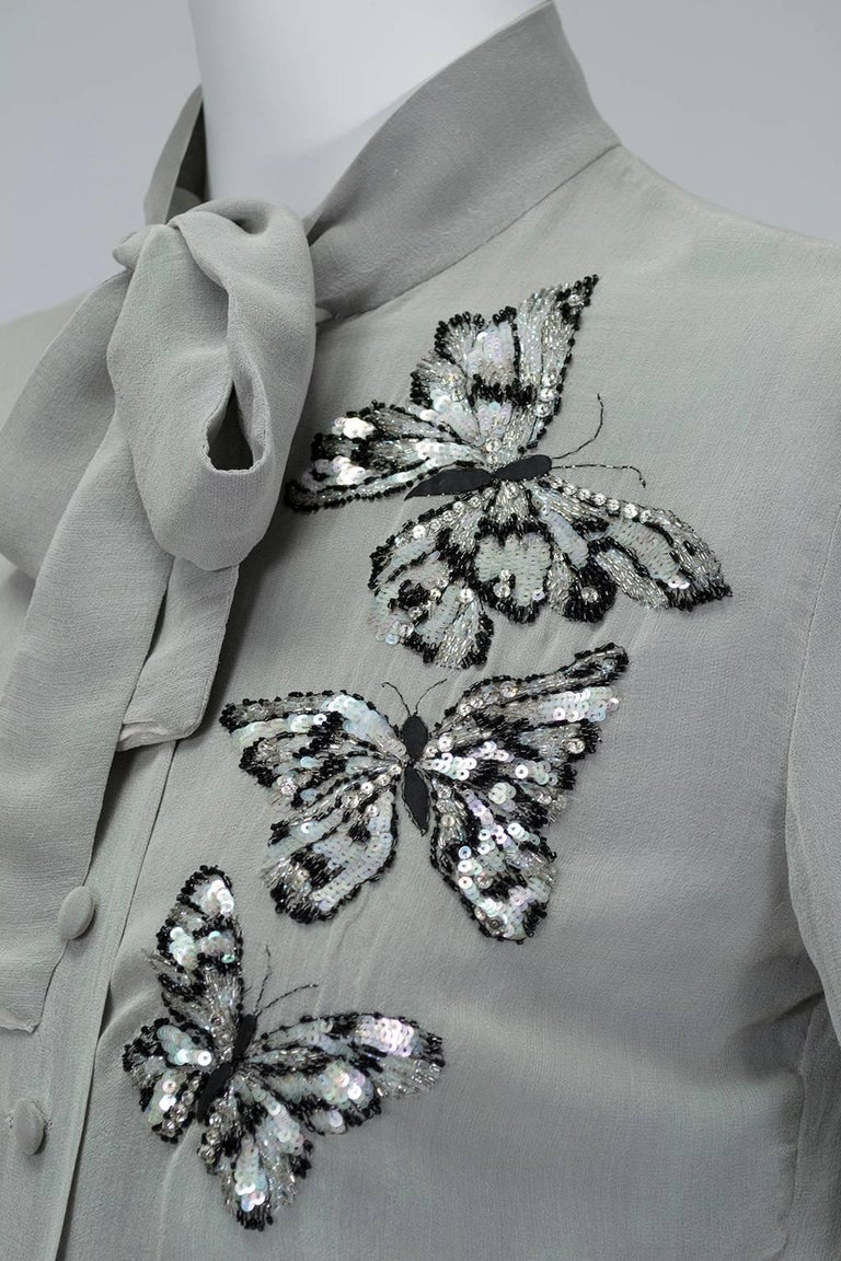 Jean-Louis Scherrer Numbered Couture Butterfly Pussy Bow Blouse, 1970s For Sale 1