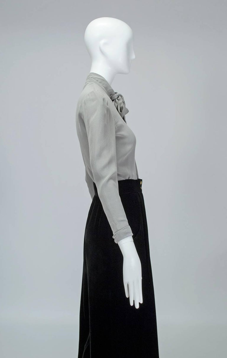 Gray Jean-Louis Scherrer Numbered Couture Butterfly Pussy Bow Blouse, 1970s For Sale