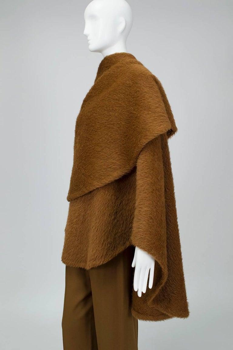 Women's Donna Karan Copper Teddy Bear Alpaca Cape and High Waist Trouser Set- S-M, 1990s For Sale