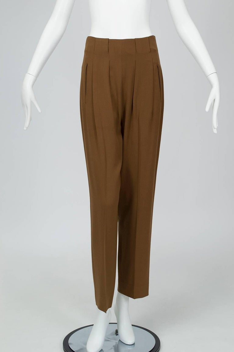 Donna Karan Copper Teddy Bear Alpaca Cape and High Waist Trouser Set- S-M, 1990s For Sale 2