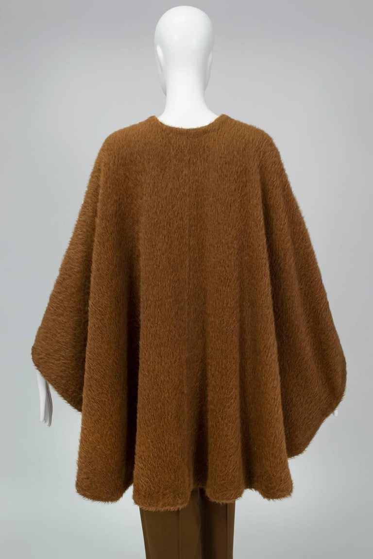 Donna Karan Copper Teddy Bear Alpaca Cape and High Waist Trouser Set- S-M, 1990s For Sale 1