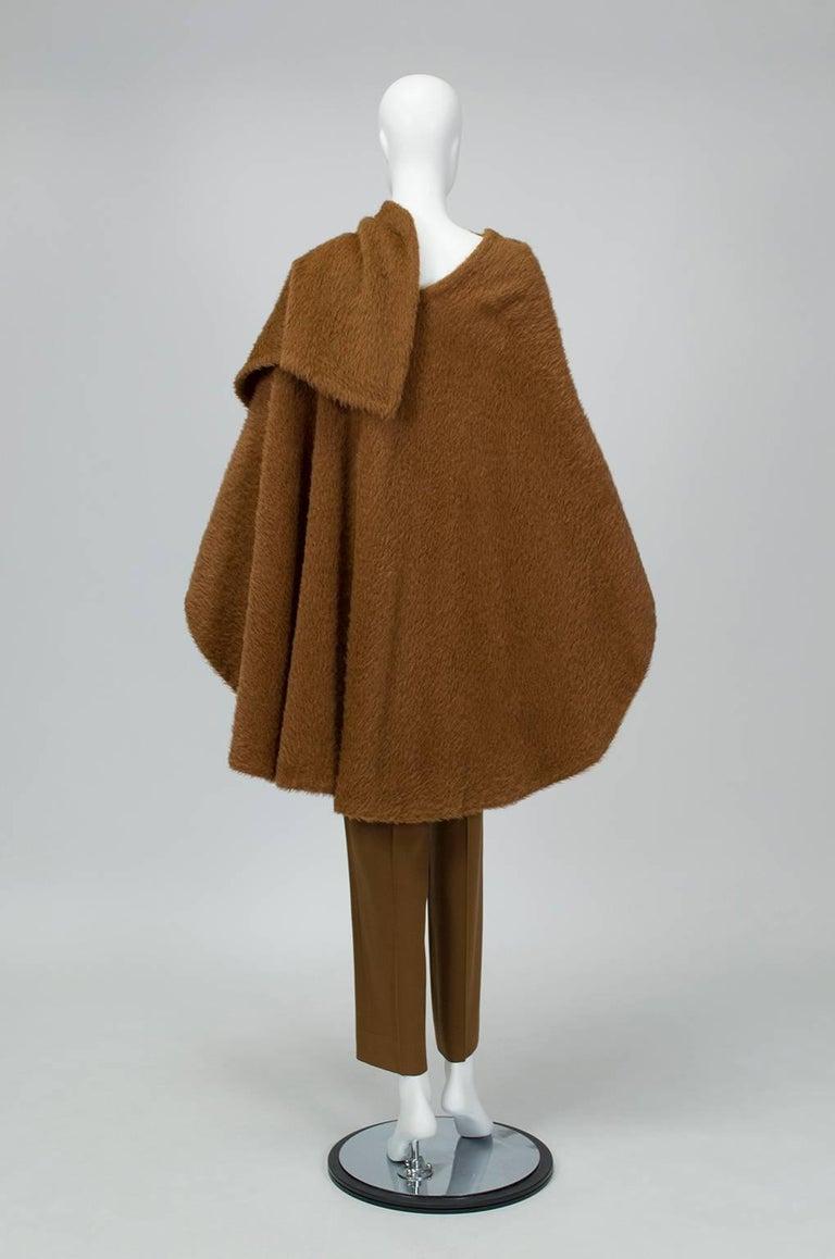 Brown Donna Karan Copper Teddy Bear Alpaca Cape and High Waist Trouser Set- S-M, 1990s For Sale