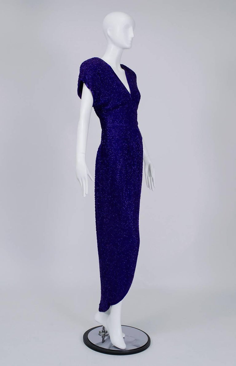 Black Violet Art Deco Beaded Hobble Gown with Pointed Waterfall Skirt - Small, 1980s For Sale