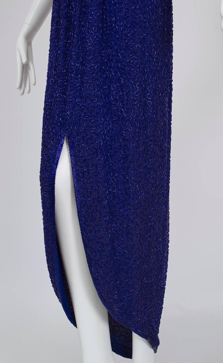 Violet Art Deco Beaded Hobble Gown with Pointed Waterfall Skirt - Small, 1980s For Sale 1