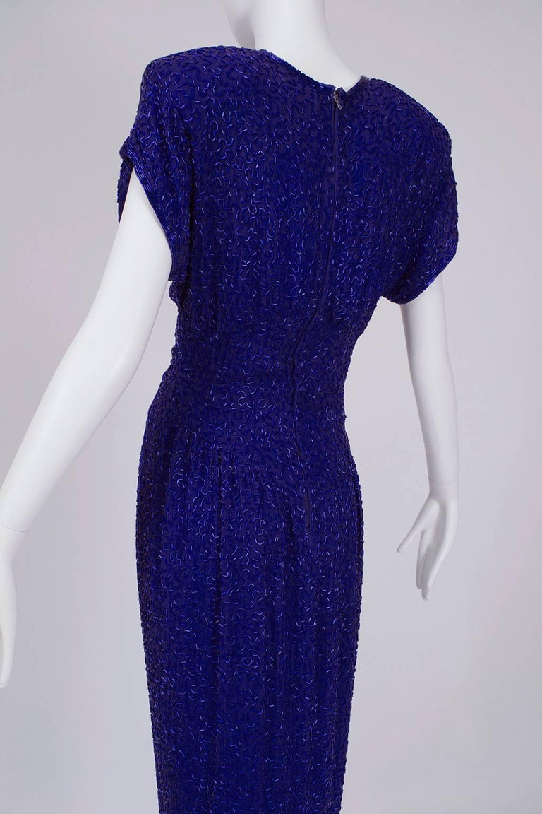Women's Violet Art Deco Beaded Hobble Gown with Pointed Waterfall Skirt - Small, 1980s For Sale