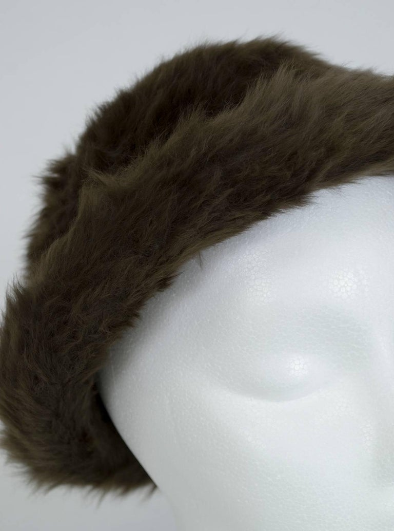 James Galanos Toscana Shearling Fur Bowler Hat, 1980s In Excellent Condition For Sale In Phoenix, AZ