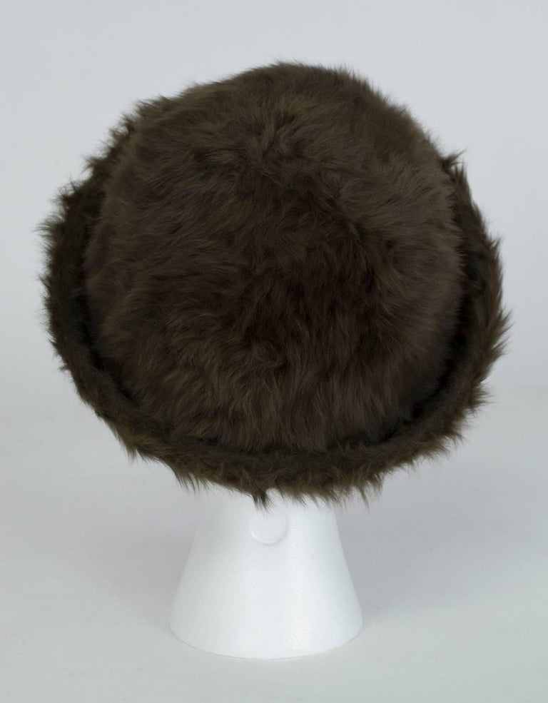 Gray James Galanos Toscana Shearling Fur Bowler Hat, 1980s For Sale