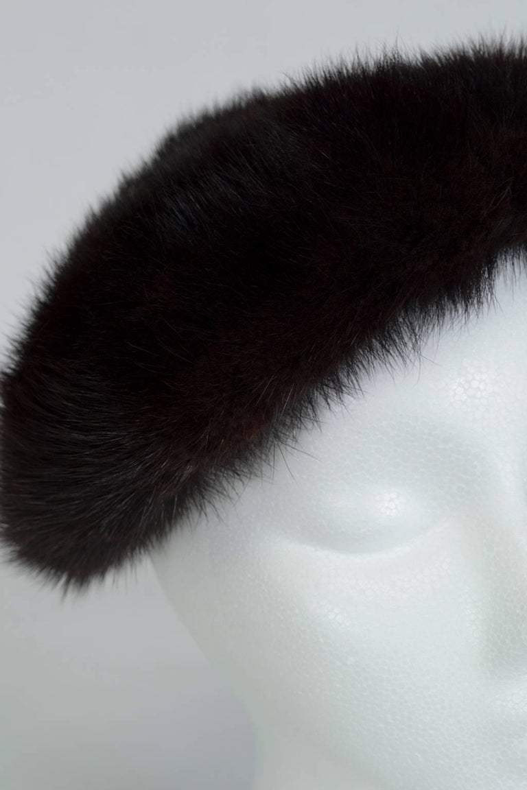 Women's Plush Black Mink Fur Pillbox Beret Hat - 21.5