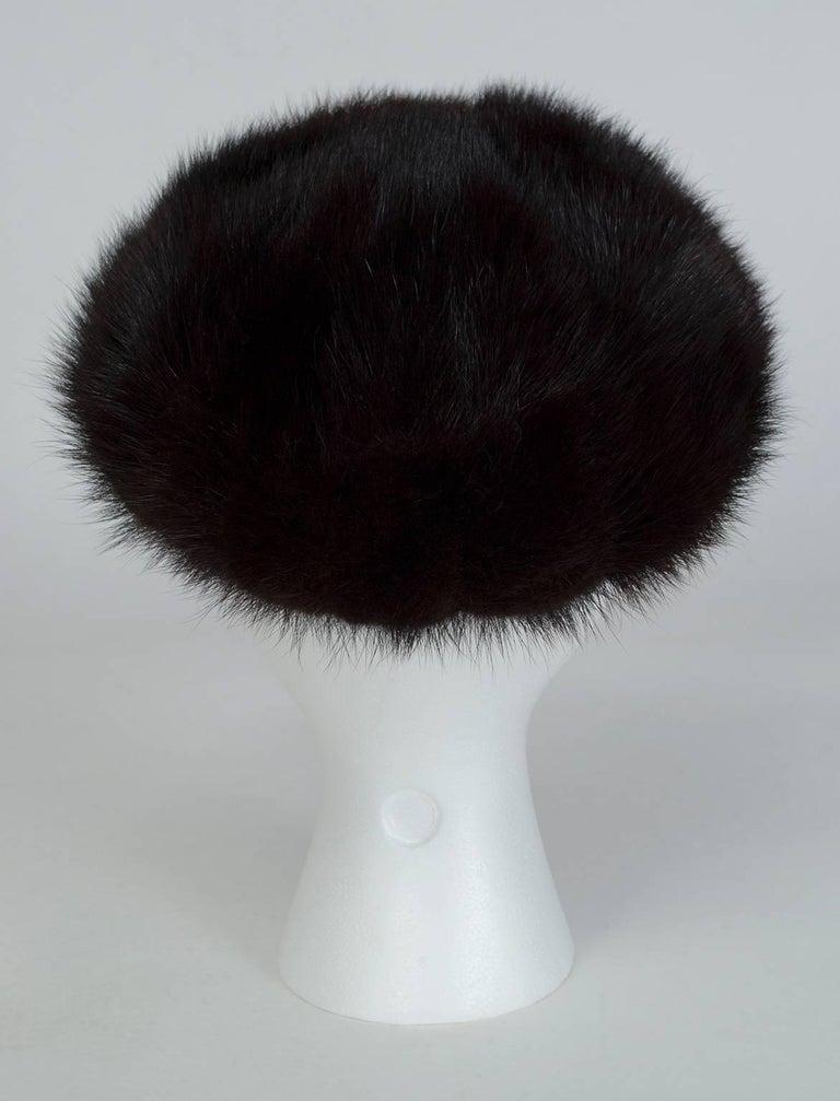 Plush Black Mink Fur Pillbox Beret Hat - 21.5