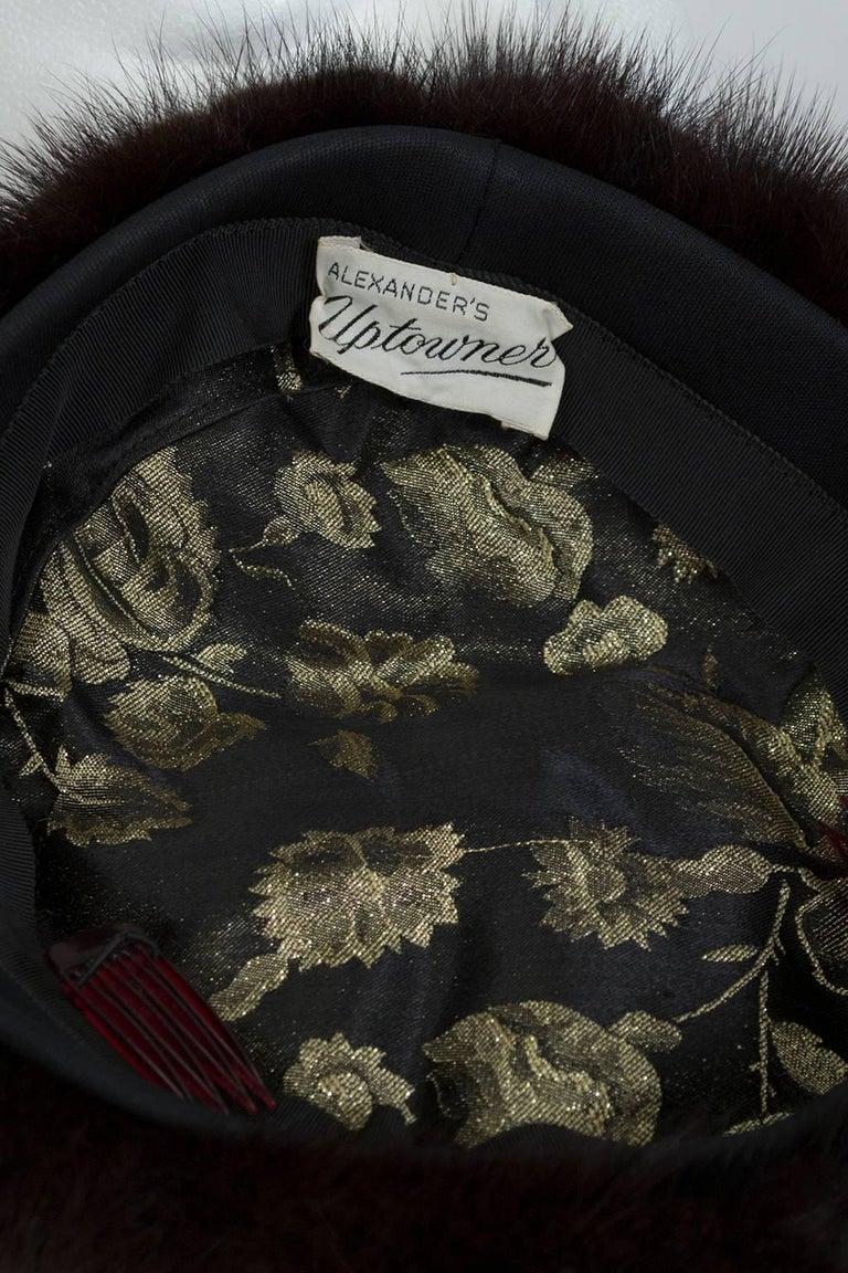 Black Mink Fur Beret Saucer Hat, 1960s For Sale 1