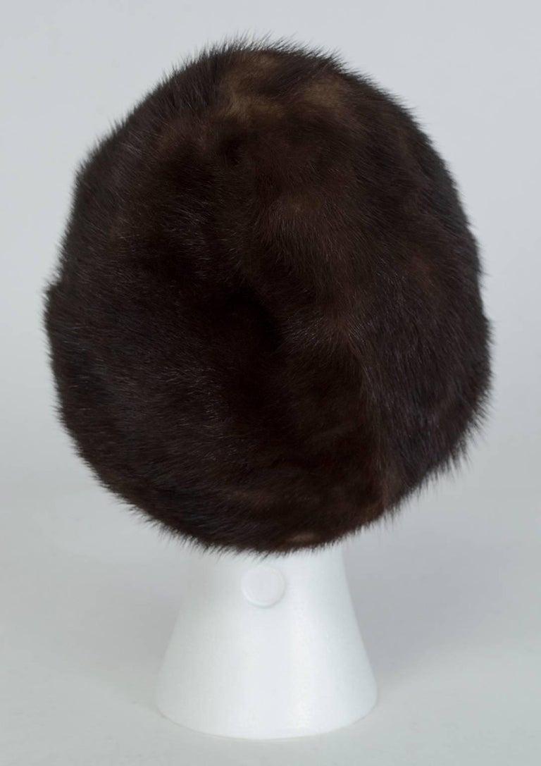 Gray Brown-Black Mink Peak Turban Hat - I Magnin, 1960s For Sale
