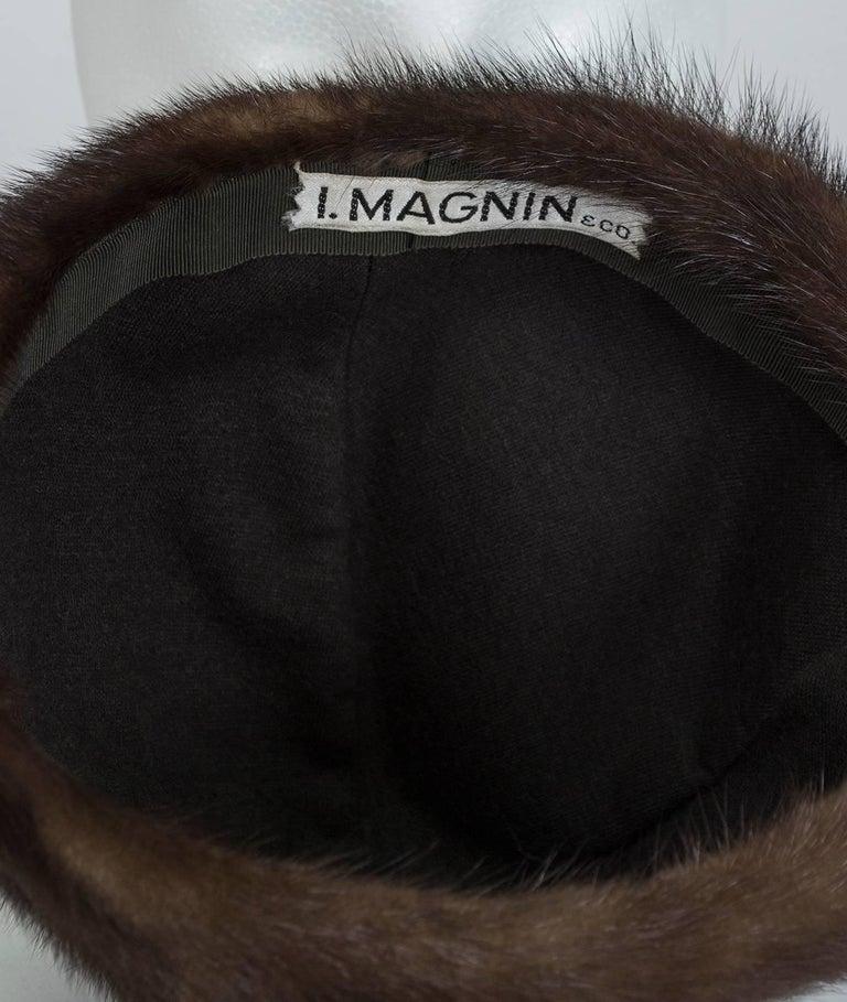 Women's Brown-Black Mink Peak Turban Hat - I Magnin, 1960s For Sale