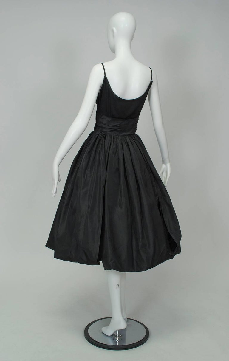 Women's Black Shoulder Bow Sabrina Dress with Looping Car Wash Skirt - XS, 1950s For Sale