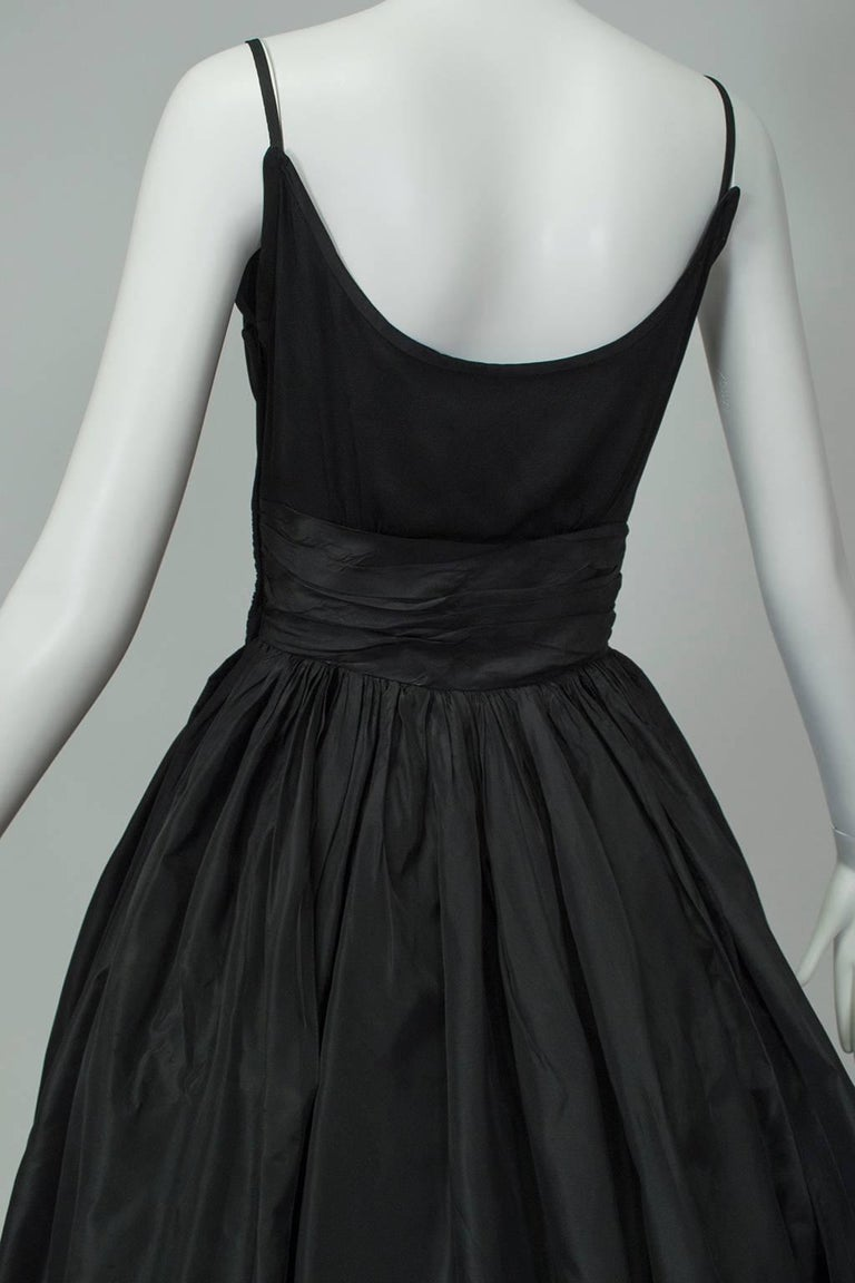 Black Shoulder Bow Sabrina Dress with Looping Car Wash Skirt - XS, 1950s For Sale 4