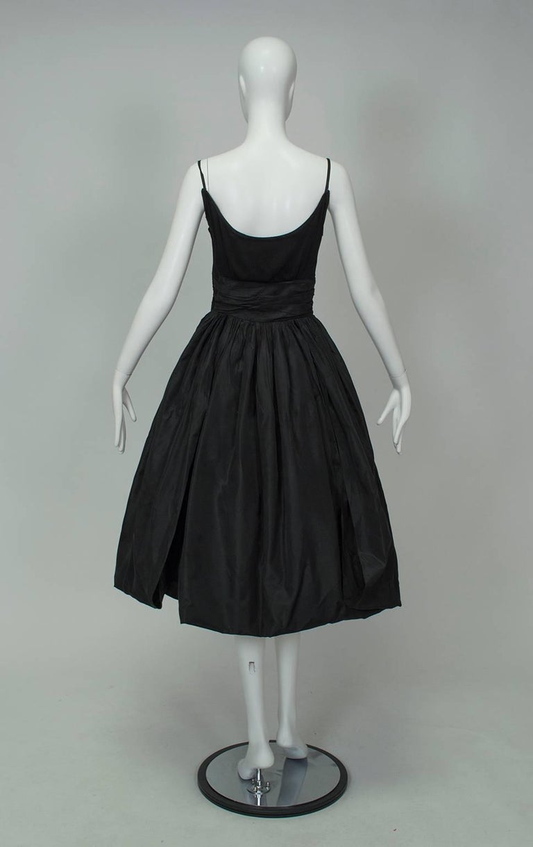 Black Shoulder Bow Sabrina Dress with Looping Car Wash Skirt - XS, 1950s For Sale 1