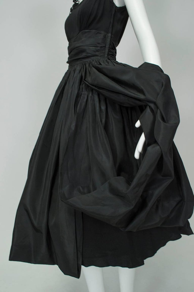 Black Shoulder Bow Sabrina Dress with Looping Car Wash Skirt - XS, 1950s For Sale 5