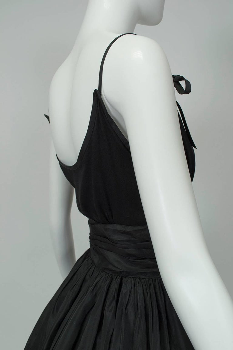 Black Shoulder Bow Sabrina Dress with Looping Car Wash Skirt - XS, 1950s For Sale 3