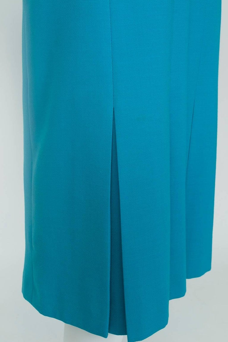 Louis Féraud Teal Trapunto Peplum Suit with Provenance - US 8, 1980s For Sale 3