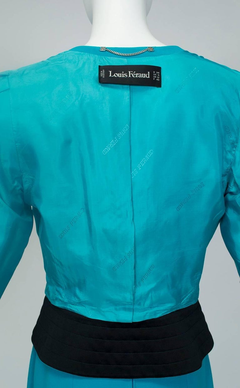 Louis Féraud Teal Trapunto Peplum Suit with Provenance - US 8, 1980s For Sale 4