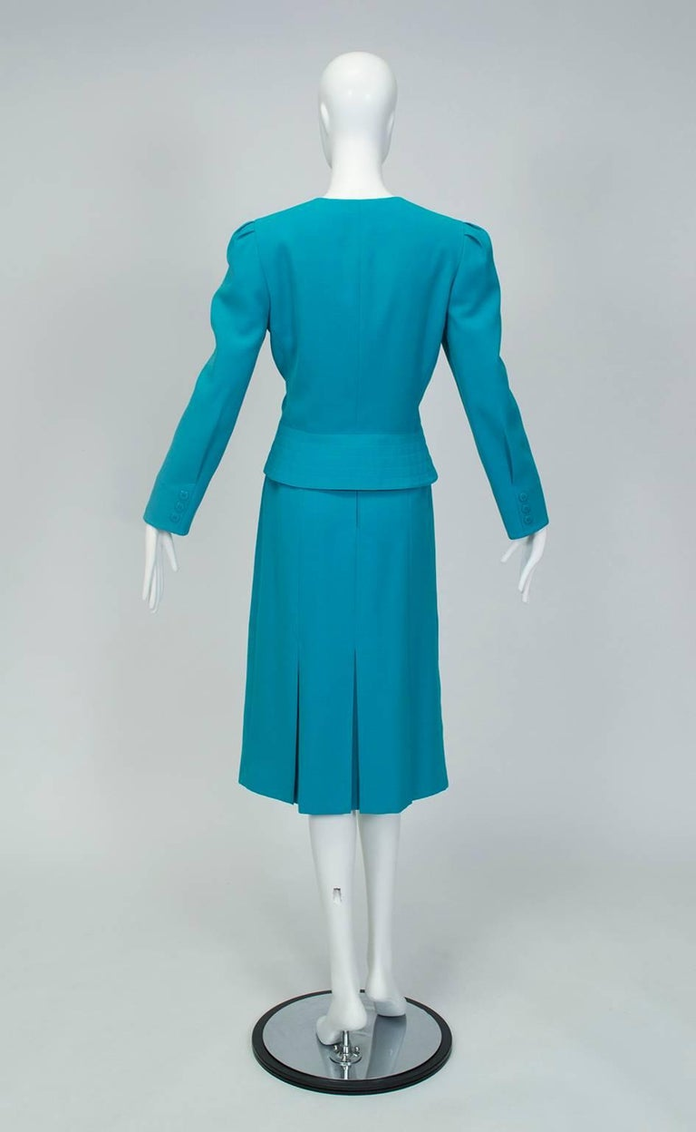 Blue Louis Féraud Teal Trapunto Peplum Suit with Provenance - US 8, 1980s For Sale