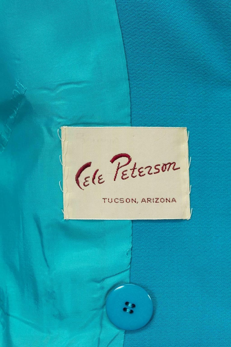 Louis Féraud Teal Trapunto Peplum Suit with Provenance - US 8, 1980s For Sale 5