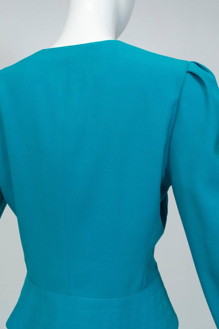 Women's Louis Féraud Teal Trapunto Peplum Suit with Provenance - US 8, 1980s For Sale