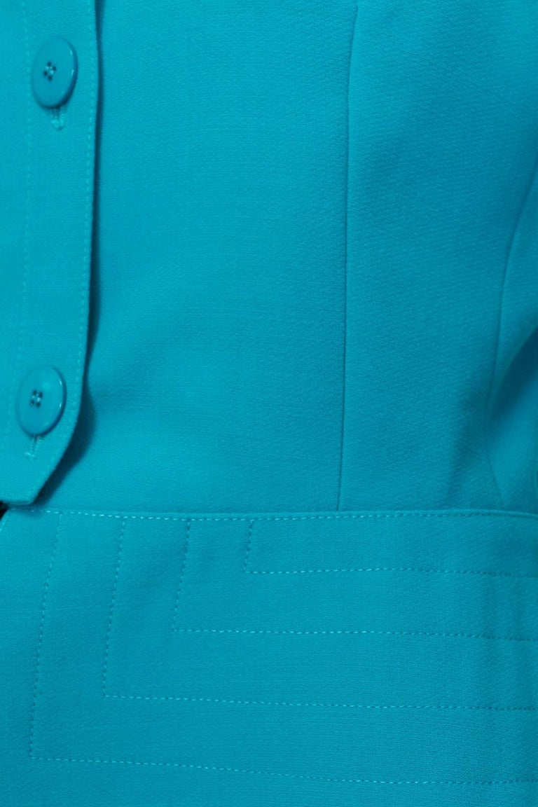 Louis Féraud Teal Trapunto Peplum Suit with Provenance - US 8, 1980s For Sale 2