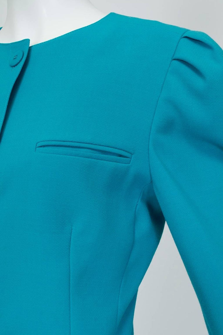 Louis Féraud Teal Trapunto Peplum Suit with Provenance - US 8, 1980s For Sale 1