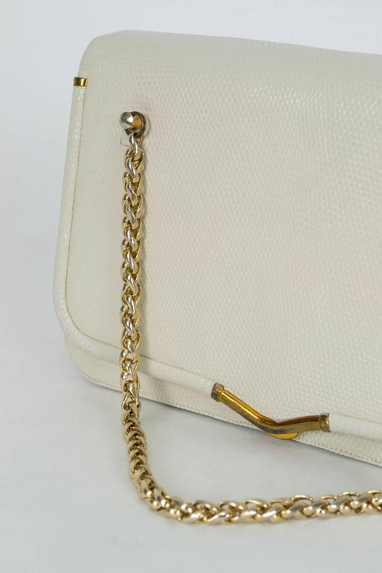 Women's Judith Leiber Ivory Lizard Chain Handbag with Coin Purse, 1980s For Sale