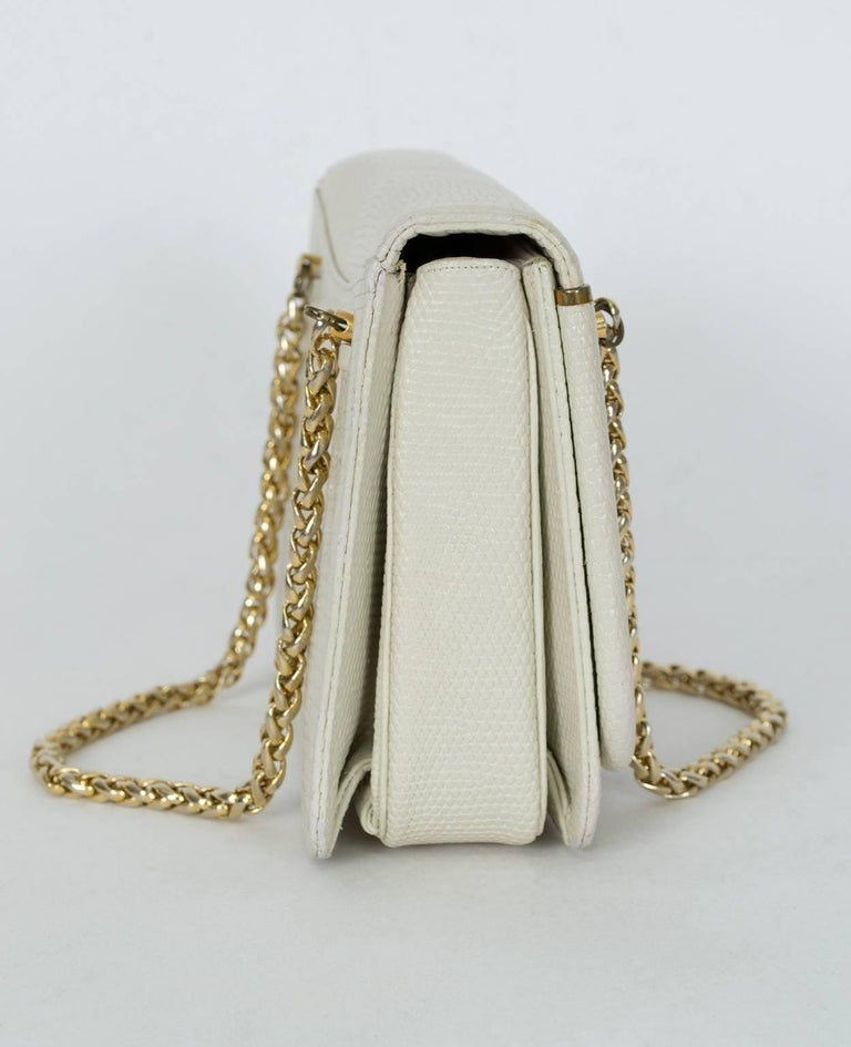 Beige Judith Leiber Ivory Lizard Chain Handbag with Coin Purse, 1980s For Sale