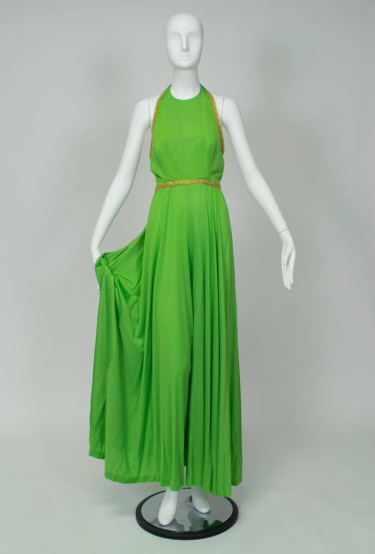 Green J Magnin Palazzo Jumpsuit and Jeweled Tunic - Mad Men Season 5, 1960s For Sale