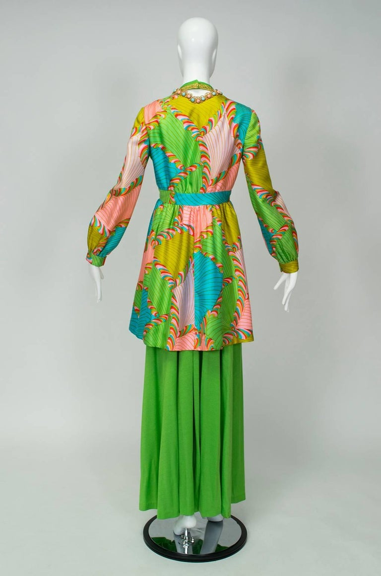 Just in case a backless lime green jumpsuit with four-foot wide legs isn't enough, the coordinating silk twill tunic--studded with cabochons around the neckline--can be worn in tandem with the ensemble or alone as a mini dress. So good it was worn
