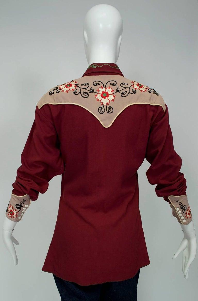 03bdf8cca J Bar S Gabardine Western Cowboy Shirt, 1940s