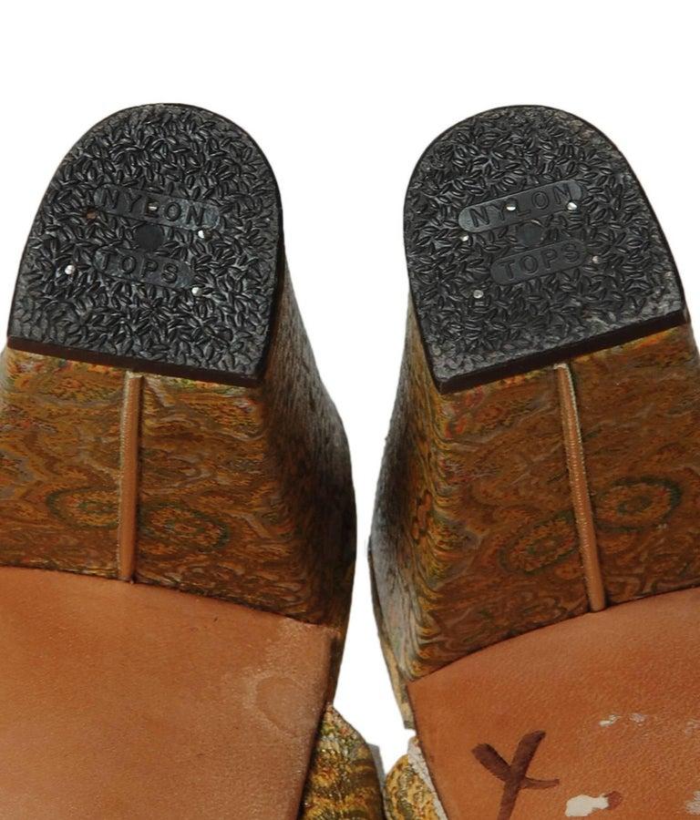 Women's Delman Gold Paisley Leather Platform Sandals, 1940s For Sale